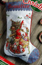"Bucilla Olde World Santa 18"" Christmas Stocking Counted Cross Stitch Kit #86660"