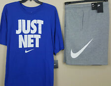 NIKE JUST NET OUTFIT SHIRT + FLEECE SHORTS ROYAL BLUE GREY RARE NEW (SIZE 4XL)