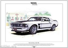 FORD MUSTANG MOZZO 302 - Stampa artistica - A3 MISURA - 1969 US American Muscle