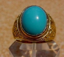 Men's 18K Solid Gold Turquoise Ring