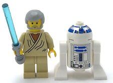 LEGO LOT OF 2 STAR WARS MINIFIGURES BEN KENOBI R2D2 CLASSIC YELLOW FIGS SABER