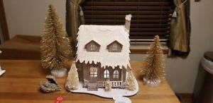 "New Martha Stewart LED Putz Christmas House,  2 Gold Trees 8"" & 12""H & Cat Angel"