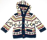 Old Navy Baby Boy Hooded Cardigan Sweater Size 6 to 12 mo months Nautical anchor