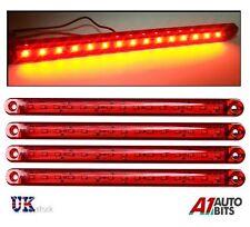 "4 Pcs Red 12V 24V 15 LED Tail Side Marker Lights Truck Trailer Lorry  9.5"""