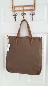 Canvas Leather Bag Foxton Tote Khaki Grey Brown By Forbes & Lewis Unisex