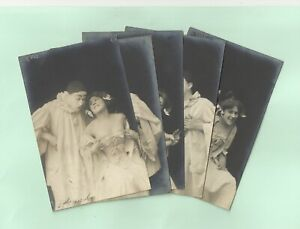 Set 5 old French real photo postcard risqué art nude posted 1900s RPPC pc #193