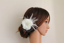 Wedding Bridal Ivory White Flower Feather Fascinator Rhinestone Jewel Hair Clip