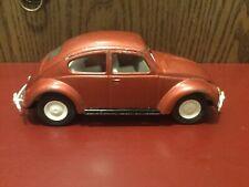 """Vintage Tonka Volkswagen Beetle #52680 Pressed Steel Car Brick Red 1960's 9""""."""