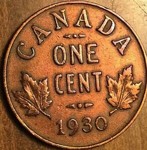 1930 CANADA SMALL CENT COIN PENNY