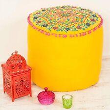 Embroidered Suzani Pouf Seat Cushion - Yellow