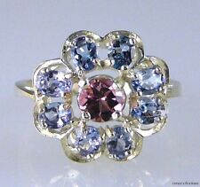 Natural Pink Tourmaline & Oval Tanzanite Flower Ring 925 Sterling Silver Size 10