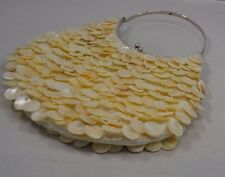 Vintage Layered Shell MOP Purse Handbag Seed Beads Satin Lining  Iridescent