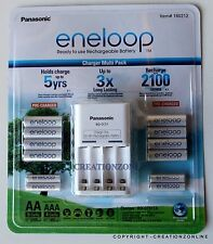 PANASONIC ENELOOP RECHARGE BATTERY CHARGER + 8 AA + 4 AAA BATTERIES NIMH NEW