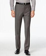 $226 CALVIN KLEIN Men Slim Fit Wool Trouser Gray Pindot FLAT FRONT PANTS 34W 30L