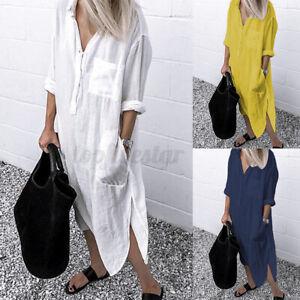 Women Summer Bohemia Long Sleeve V Neck Long Shirt Dress Split Hem Midi Sundress