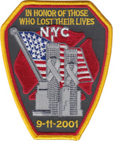 NEW YORK FIRE DEPARTMENT SHOULDER PATCH: 9-11 Memorial for Firefighters