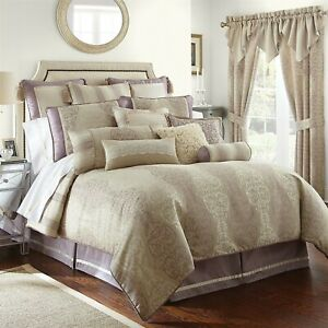 Waterford SIENNA 4P Queen Duvet Cover Shams Set Lilac Champagne