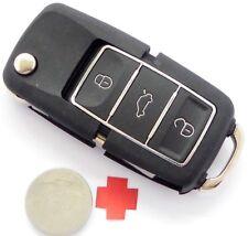 Auto Klapp Schlüssel 3 Tasten FERNBEDIENUNG Gehäuse für VW SEAT SKODA + Batterie