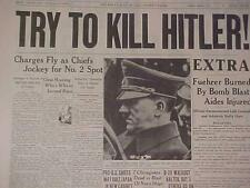 VINTAGE NEWSPAPER HEADLINE ~WORLD WAR TRY TO KILL BOMB GERMAN NAZI HITLER WWII~