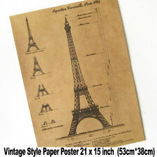 XXL Vintage Wall Paris Eiffel Tower Blueprints 21x15 inch Retro Paper Poster A2