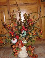 Whimsical Tuscan Vintage Velvet Grapes Rustic Figurine Roman Flower Arrangement