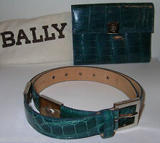 BALLY Italy Alligator Crocodile BELT 75/30 Silver Blue + Bag NEW $2600 GIFT IDEA