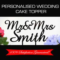 Custom Made Personalised Mr&Mrs + Surname Acrylic Wedding Cake Topper Decoration