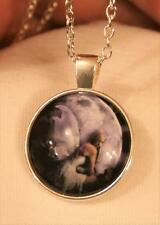 Lovely Violet & Misty White Winged Angel Fairly Round Silvertn Pendant Necklace