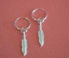 925 Sterling Silver Small Hoop w Dangle Feather Earrings - Hoop Feather Earrings