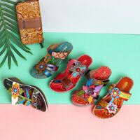 SOCOFY Women Summer Bohemian Adjustable Leather Hook Loop Printing Slippers Sz