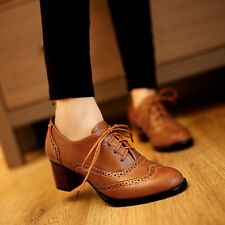 New Womens Lace Up Oxford Pumps Brogue Block Heels Shoes Brown US8 / UK6 / EUR39