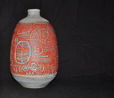 rare carstens gerda heuckeroth - prehistoric - floor vase ceramics 1960s