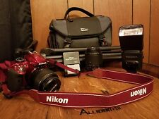 Red Nikon D D3300 24.2MP Digital SLR Camera - with accessories