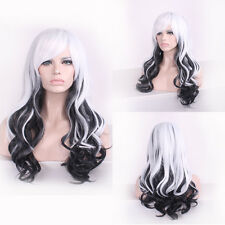 Tilted Frisette Long Curly Wavy Cosplay Women Wigs Hair Wig White Black Ombre CX