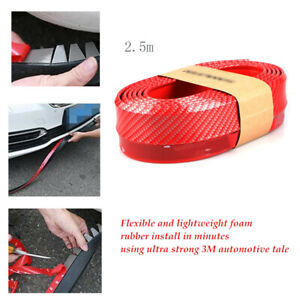 2.5M Red Car Front Bumper Quick Lip Splitter Spoiler Rubber Protector 3M Tape