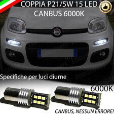 COPPIA LUCI DIURNE DRL 15 LED P21W BAY15D CANBUS FIAT PANDA 3° 6000K NO ERRORE