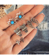 4 Pairs Vintage Boho Stud Earrings Set Lotus Cactus Owl Wings Woman Jewelry New