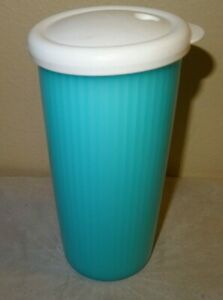 Tupperware 24 oz Ounce Blue Tumbler Cup Lid 3329A-4 Teal Turquoise 3329A