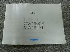 1992 Mazda MX3 Hatchback Owner Owner's Operator Manual User Guide GS 1.6L 1.8L