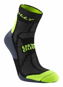 Hilly Off Road Anklet Running Socks in Black / Yellow Merino Wool High Wicking