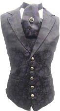 "Raven Gothic Purple Black Medieval Waistcoat & Cravat With Tiepin In 42,44,46"""
