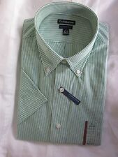 New $36.00 - CROFT & BARROW Quality Men Green/Wh Stripe Shirt  Size: L 16 1/2-17