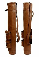 REAL TAN VINTAGE LEATHER GOLF CLUB BALL BAG WITH TWO POCKETS