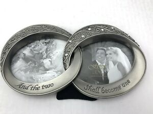 And The Two Shall Become One Wedding Double Rings Picture Frame NEW w Box Fetco