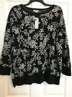 Croft Barrow Plus 3X Black Silver Floral Sweater 3/4 Sleeve NWT