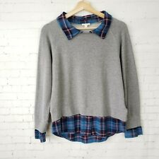Soft Joie Womens Sweater Top Size S Diadem Cotton Pullover Gray Blue Plaid