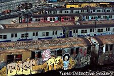 Lined up New York City Subway Trains Covered in Graffiti - Giclee Photo Print