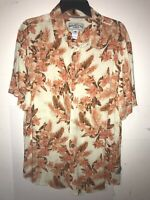 Margaritaville Jimmy Buffet Short Sleeve Mens Large Brown And White Button Up