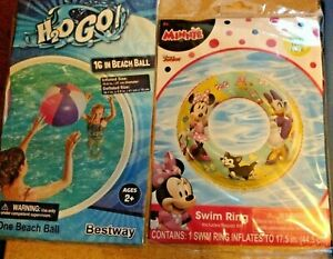 Disney Jr Minnie Mouse Swim Ring & Beach Ball Lot~NEW~Age 3-6~Inflatable H2O GO!