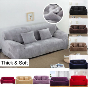 UK 1-4 Seater Sofa Covers Easy Fit Stretch Protector Soft Couch Cover Velvet